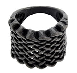black basket weave fashion ring