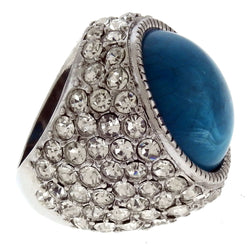 Silver-Tone Rhinestone Pave Ring with Blue Center Accent - Mi Amore