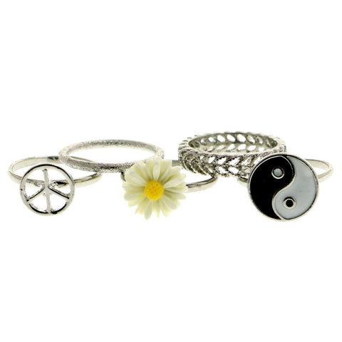 Mi Amore Peace Sign Yin-Yang Daisy Sized-Ring Silver-Tone & Multicolor Size 6.00