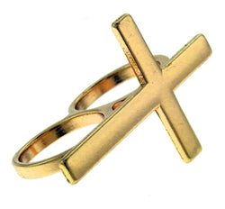 gold crucifix double finger ring