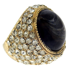 Gold-Tone Rhinestone Pave Ring with Cat's Eye Center Accent - Mi Amore