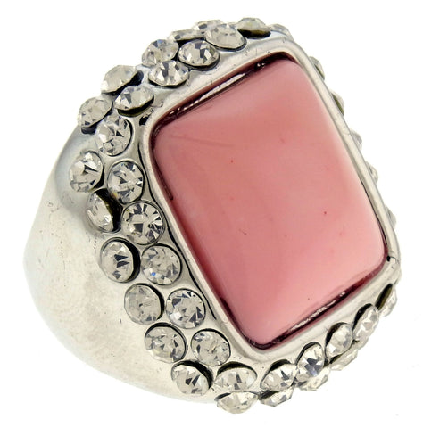 SilverTone Rhinestone Pave Ring with Pink Center Accent Mi Amore