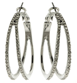 Silver-Tone Double Hoop Earrings With Rhinestone Accents For Women WHBME2