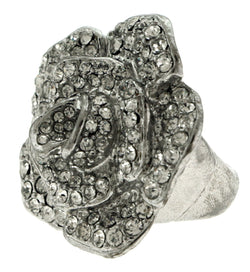 Silver-Tone Flower Shaped Stretch Ring with Rhinestone Accents WHBMSR1