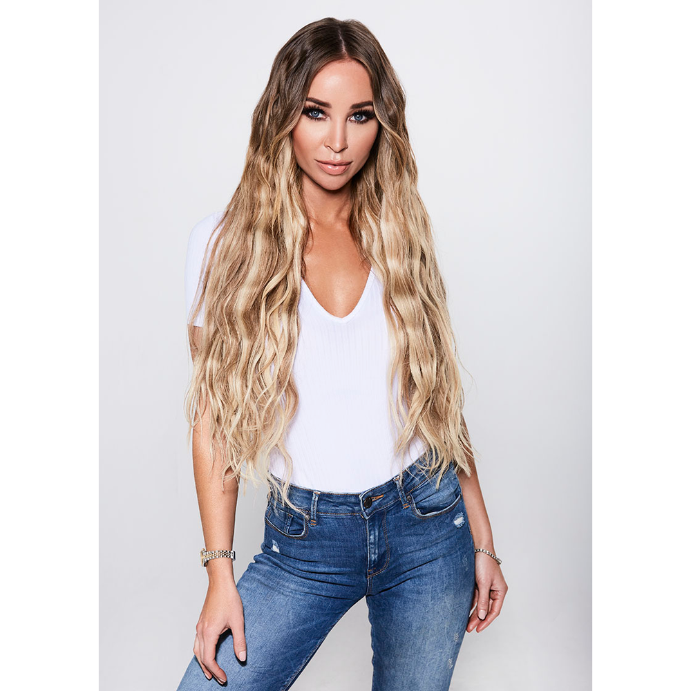 "ULTIMATE CLIP-IN EXTENSIONS 24"" (280GMS) - ROOTED DIRTY BLONDE"