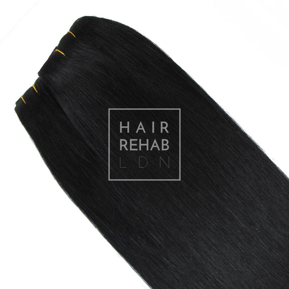 "ORIGINAL CLIP-IN EXTENSIONS 18"" (130 GMS) - JET BLACK"