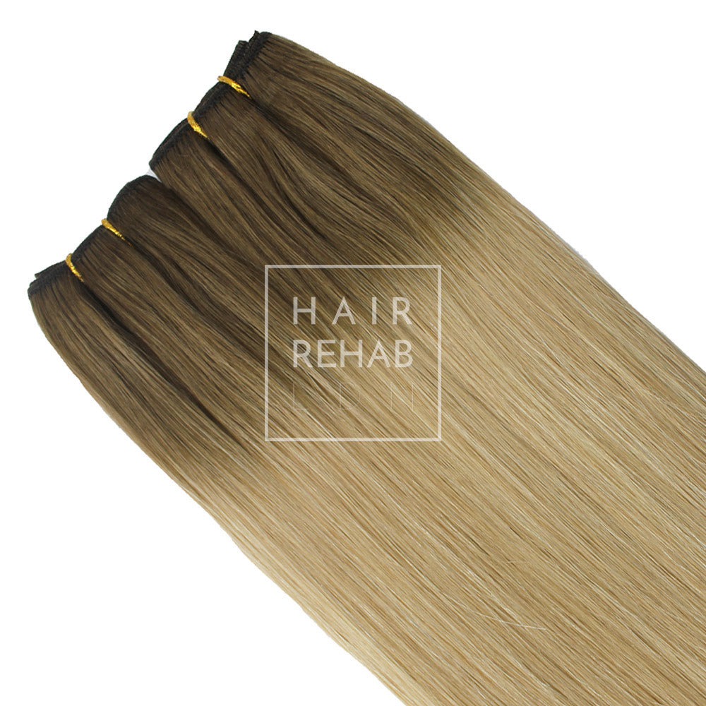 "ORIGINAL CLIP-IN EXTENSIONS 18"" (130 GMS) - ROOTED DIRTY BLONDE"