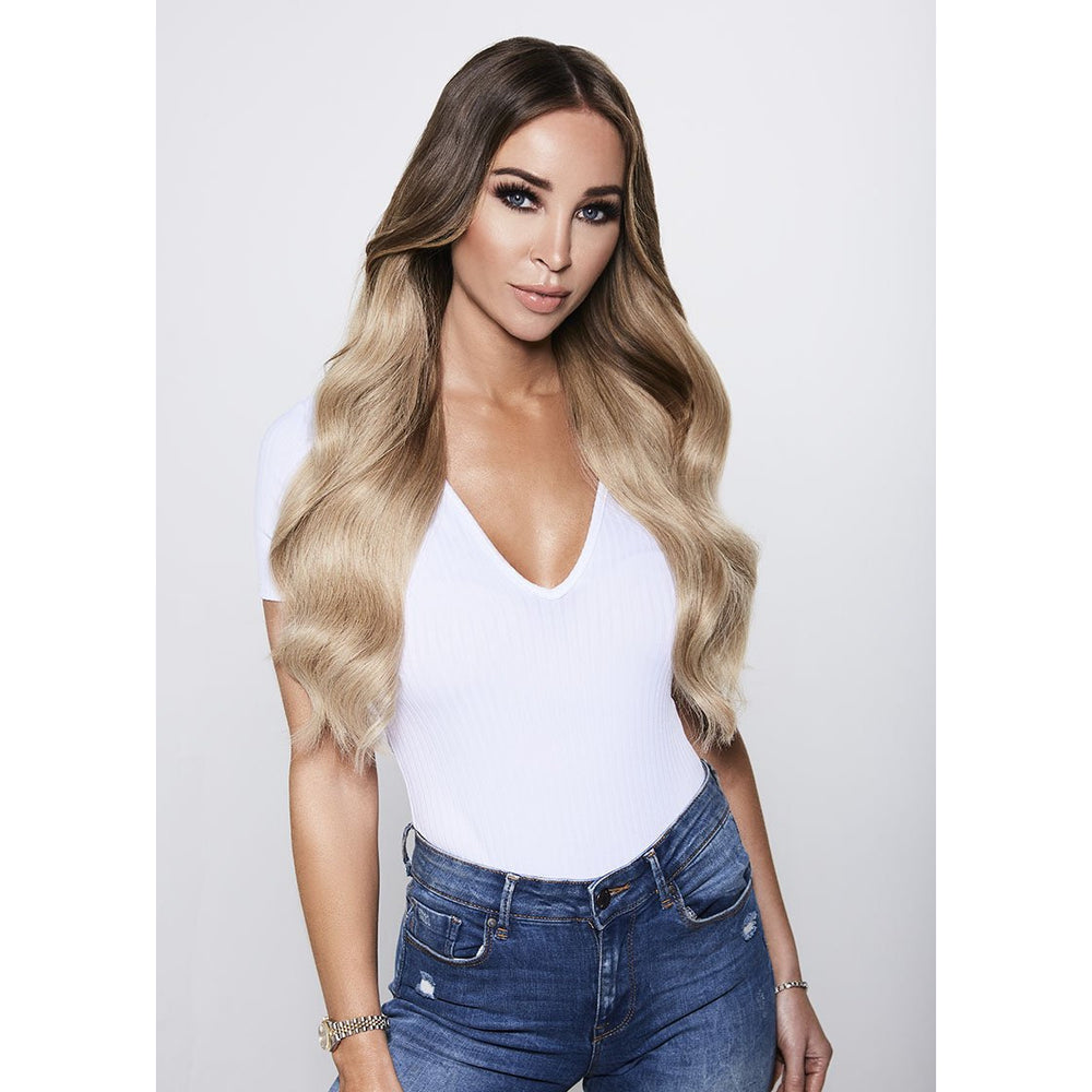"LUXE CLIP-IN EXTENSIONS 20"" (180GMS) - ROOTED BLONDE AF"