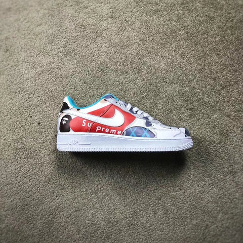 reputable site a1f1d f099d Custom Air Force 1 x Kaws x Supreme x Bape Low Cut