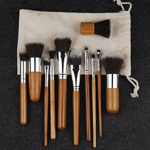 Bamboo Makeup Brush Set - 11 pcs - essential.merch