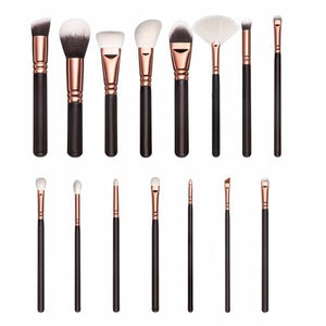 Rose Gold Makeup Brush Set - 15 pcs - essential.merch