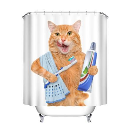 Mornin' Kitty 3D Printed Shower Curtain - essential.merch