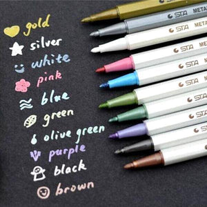 Metallic Ink Pen - 10 pc set - essential.merch