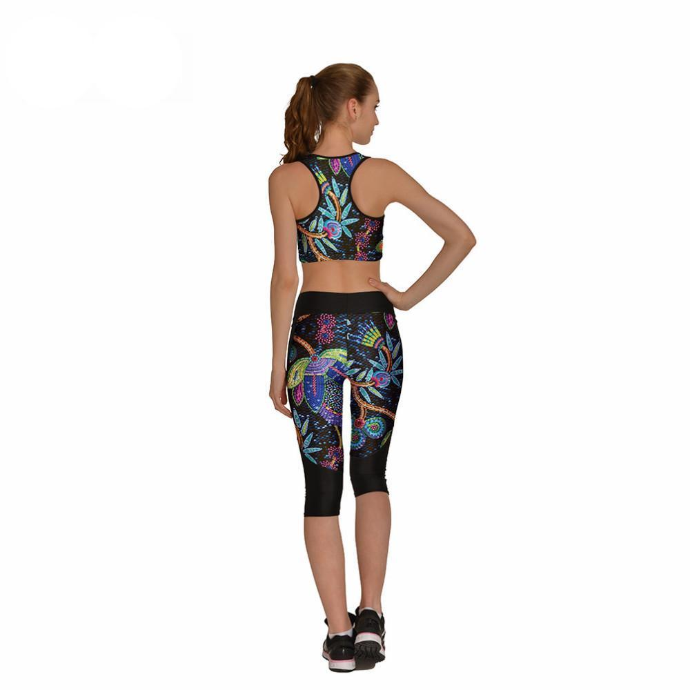 Floral Print Capri Legging & Bra Set - essential.merch