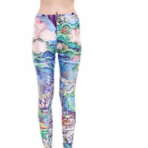 Lotus Print Leggings - essential.merch