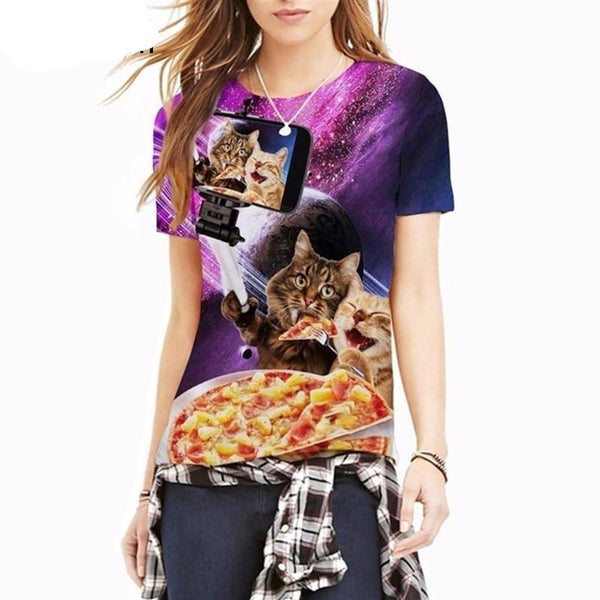 "Unisex ""Kitty Pizza Party Selfie"" 3D Printed Tee - essential.merch"