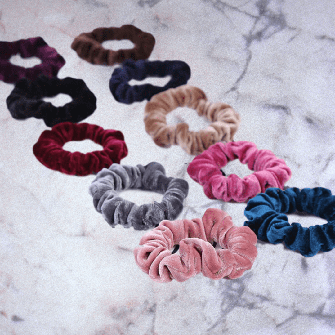 Velvet Hair Scrunchies x 10 Pack - essential.merch