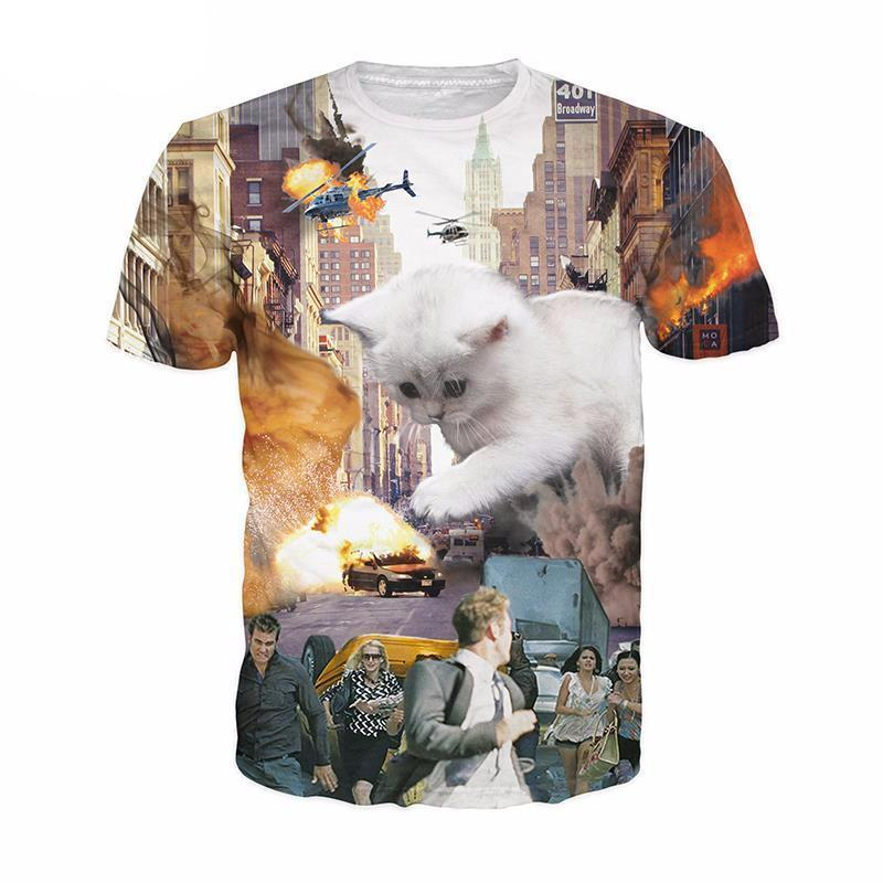 "Unisex ""Kittenzilla"" 3D Printed Tee - essential.merch"
