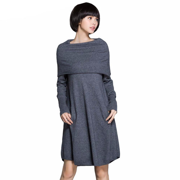 Off The Shoulder 100% Pure Cashmere Dress - essential.merch