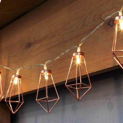 Rose Gold Geometric String Fairy Lights - essential.merch