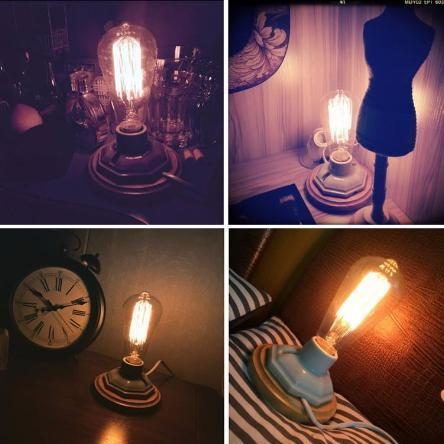 Home: Wooden Base Retro Table Lamp - essential.merch