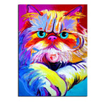 Unframed Art Canvas - Pop Art Colorful Cat - essential.merch