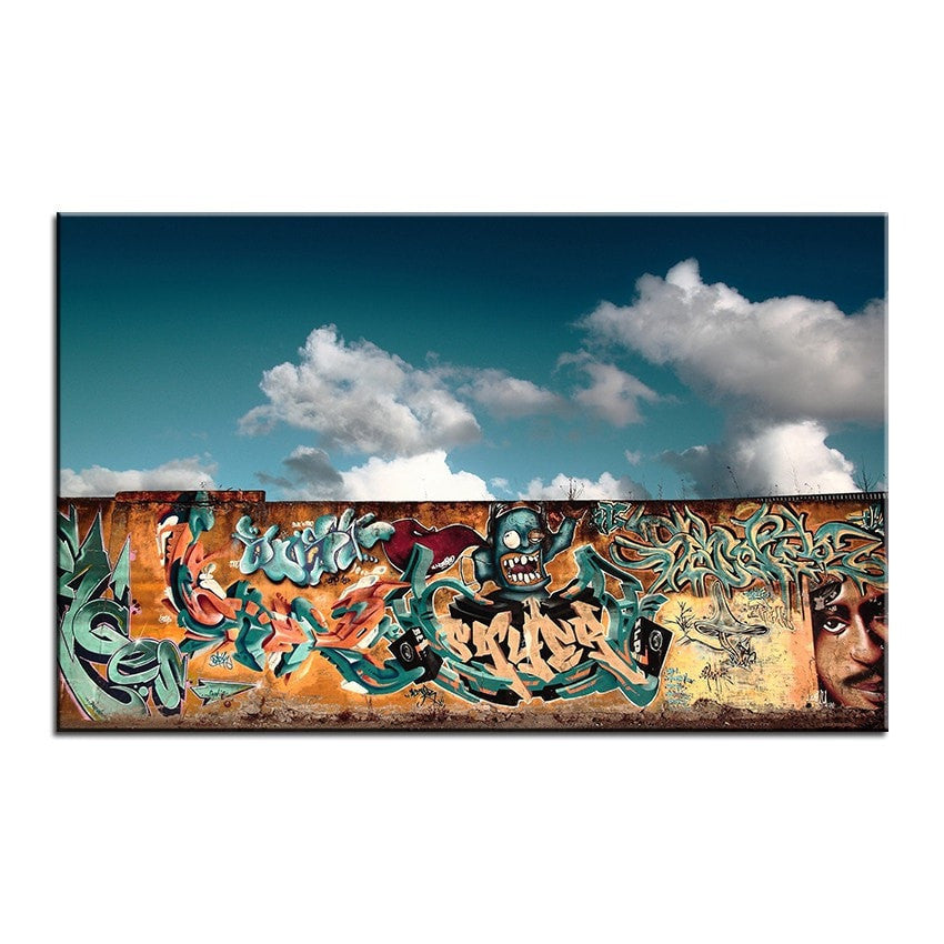 Unframed Graffiti Art Canvas-Blue Sky Skate Park - essential.merch
