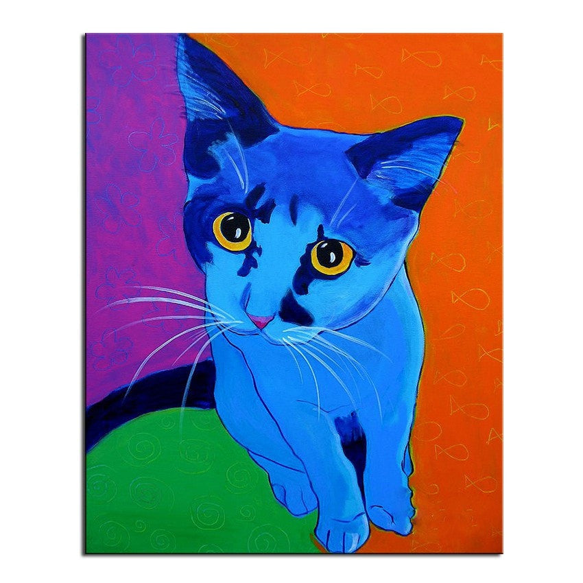 Unframed Art Canvas - Blue Kitten - essential.merch