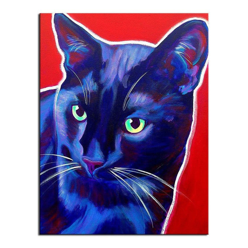 Unframed Art Canvas - Pop Art Black Cat - essential.merch