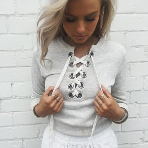 Cropped Lace-up Sweater - essential.merch