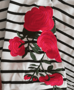 Coming Up Roses Striped Top - essential.merch