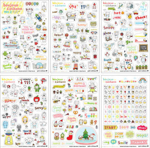 Kawaii Transparent Sticker Set - 6 pgs - essential.merch