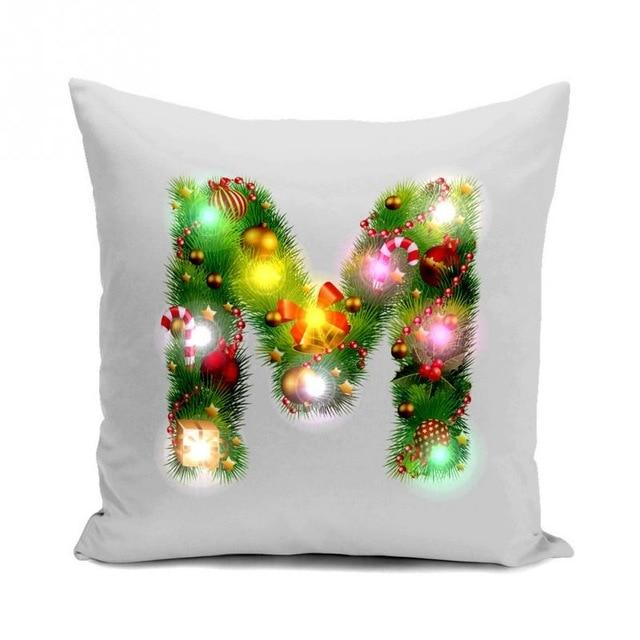 Christmas Initial LED Cushion Cover - essential.merch