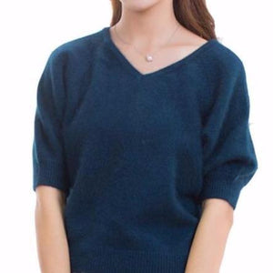 V-Neck Puff Sleeve Cashmere Sweater - essential.merch