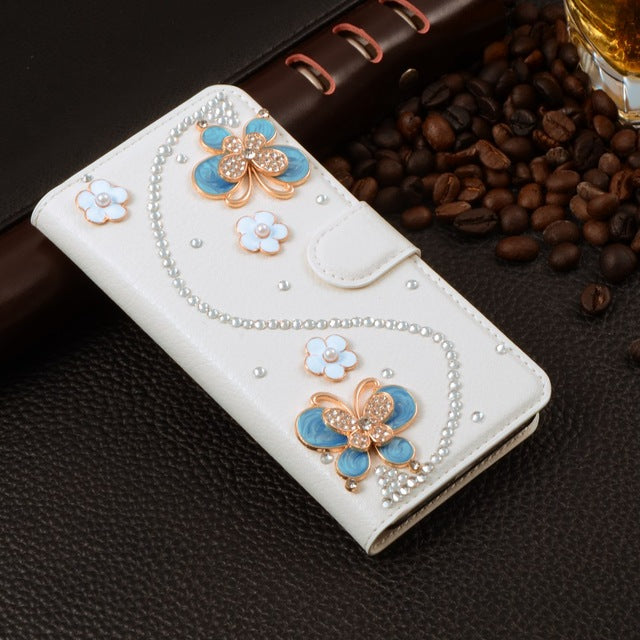 Siday Wallet Case Rhinestone Leather Card Holder Phone Protector