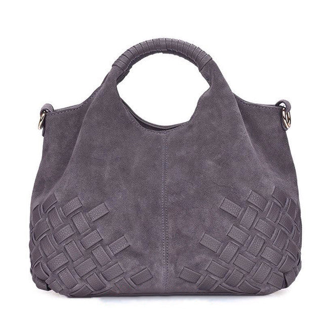 Donna Weave Suede Split Leather Handbag