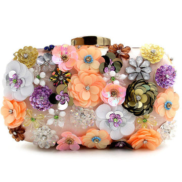 Flora Handmade Flower Sequins Clutch