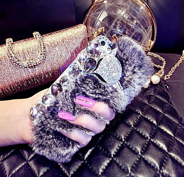 Lubi Diamond Rabbit Fur Case
