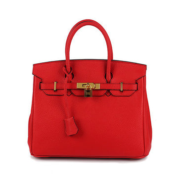 Charity Genuine Leather Lock Handbag
