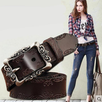 Carved Genuine Leather Jean Belt