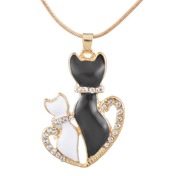 Black And White Cat Pendant Necklace