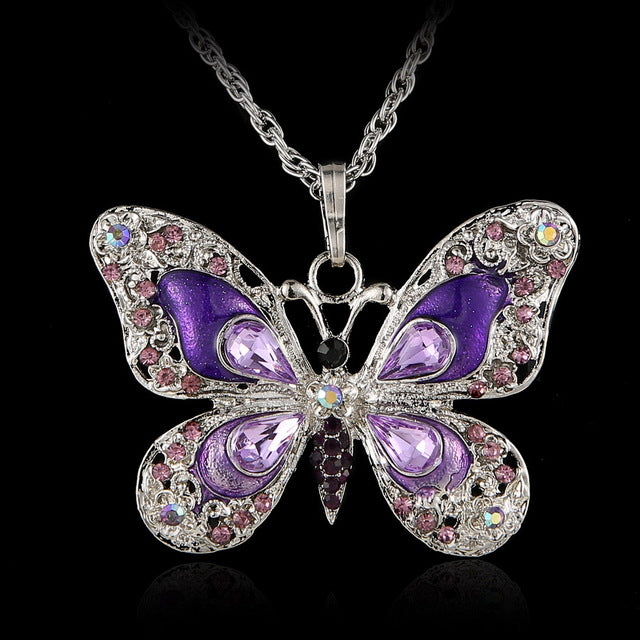 Crystal Vintage Butterfly Necklace