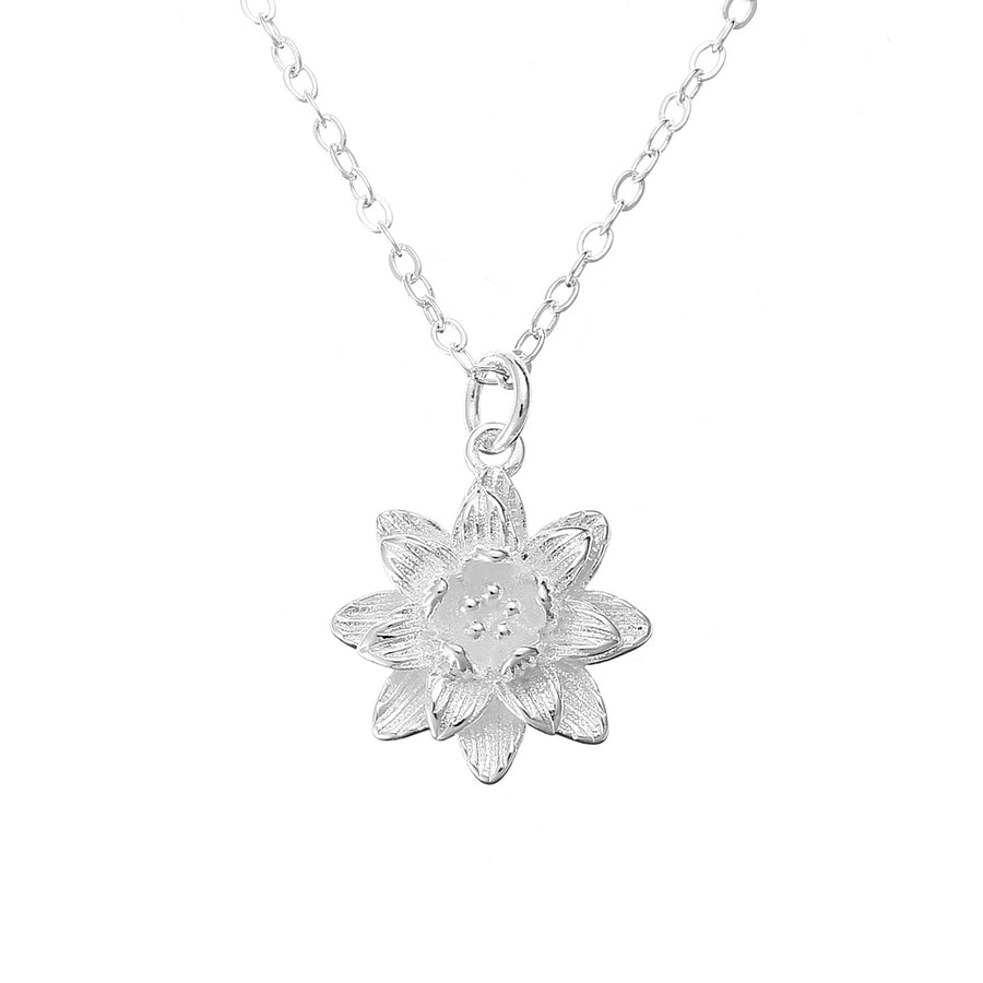 Chic Lotus Flower Pendant Necklace