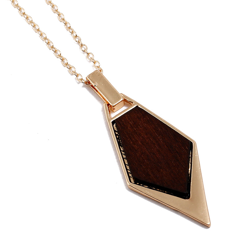 Brown Wooden Dangle Necklace