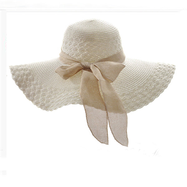 Elegant Ribbon Bow Beach Hat