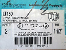 "LT150, Cooper, 1 1/2"" Straight Male Connector W/O Insulated Throat Bushing, Q=2"