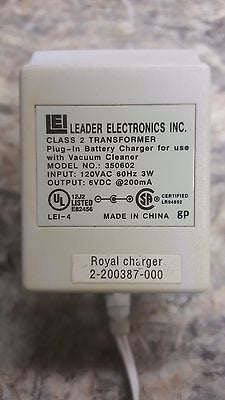 350602 LEADER AC Adapter Charger for Vacuum Cleaner 6V 200ma