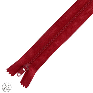 NYLON DRESS ZIPS (15CM-55CM) RED