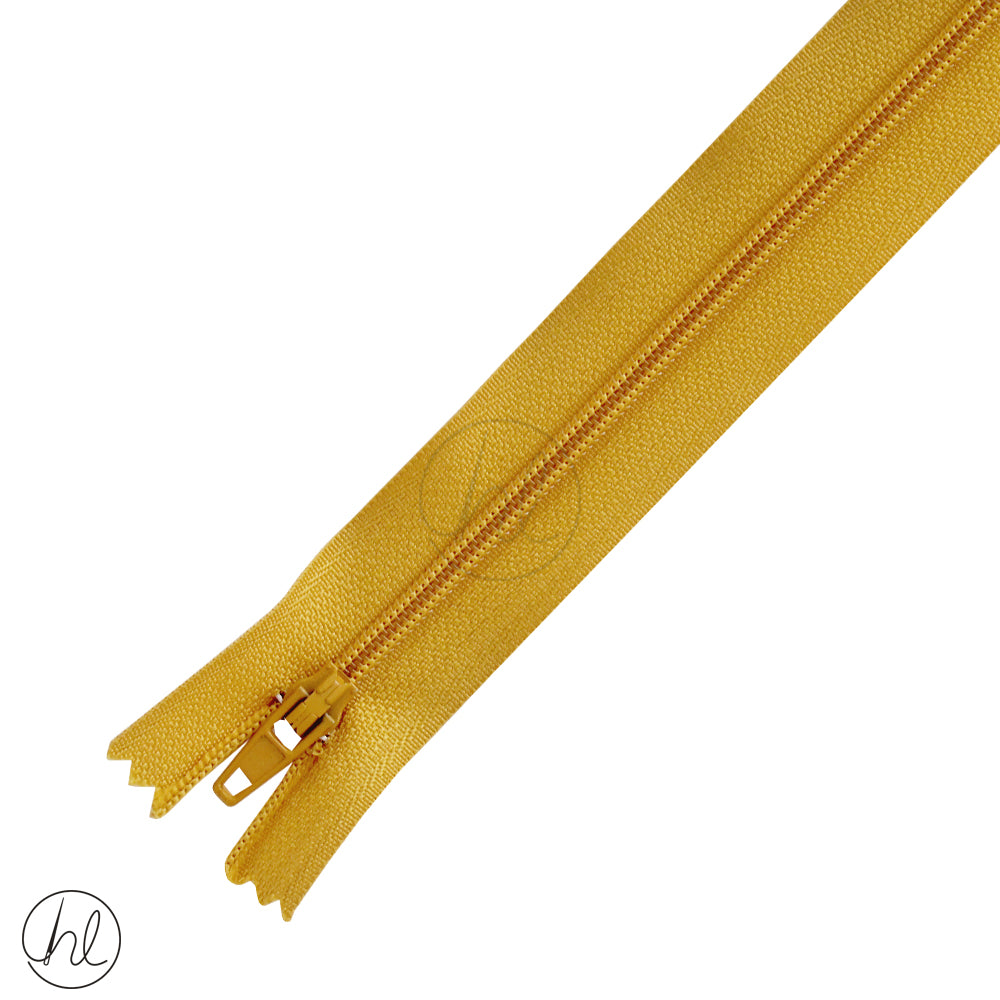 NYLON DRESS ZIPS (15CM-55CM) MUSTARD GOLD
