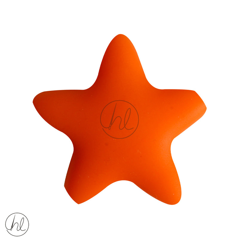 SLICONE BEAD STAR ORANGE